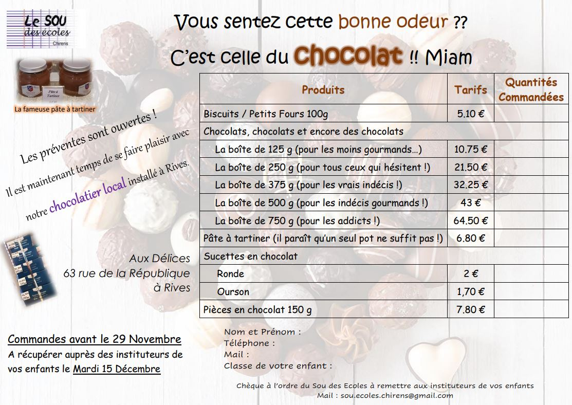 Flyers Chocolats Noël